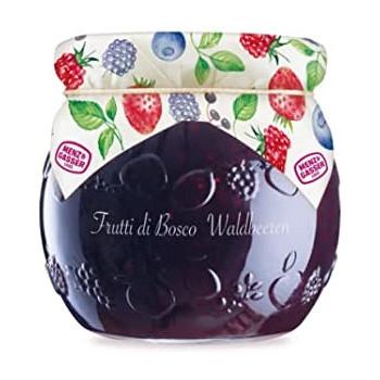Kozarček marmelade iz gozdnih sadežev, na pokravčku naslikane jagode, maline, robide, borovnice