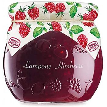 Kozarček malinove marmelade, na pokrovčku naslikane maline