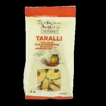 Vrečka italijanskega slanega peciva taralli s čilijem in česnom