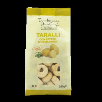 Vrečka italijanskega slanega peciva taralli z rožmarinom in krompirjem