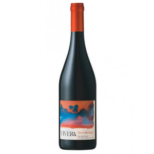 Steklenica rdečega vina iz Sicilije z rdeče modro etiketo